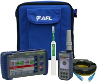 AFL FlexScan FS300-325-Pro QUAD OTDR for 850/1300/1310/1550nm delivered with One-click cleaner, SM & MM fiber rings and FOCIS Flex